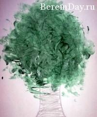 Дерево пальчиковыми красками